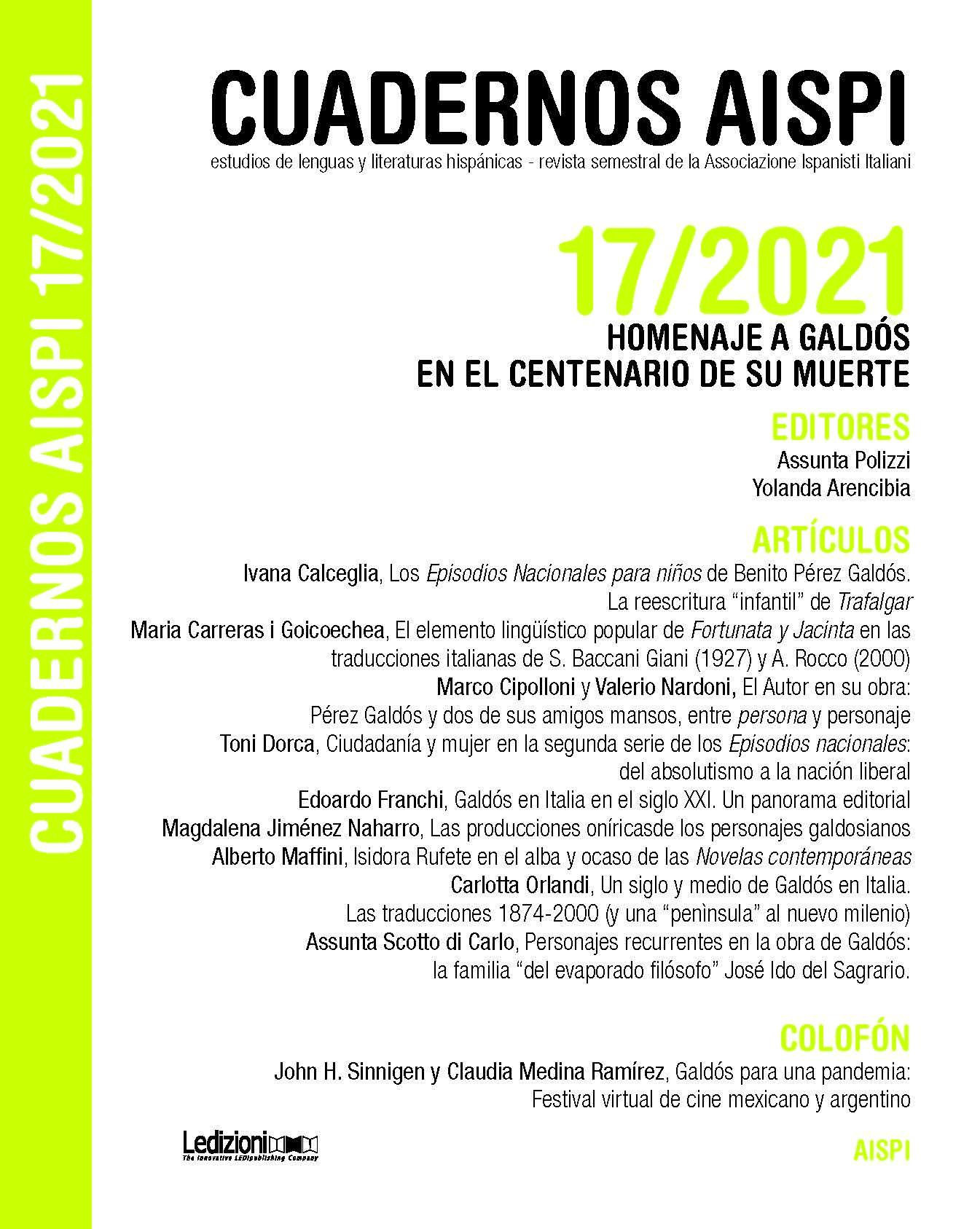Ver Vol. 17 Núm. 1 (2021): Homenaje a Galdós en el centenario de su muerte